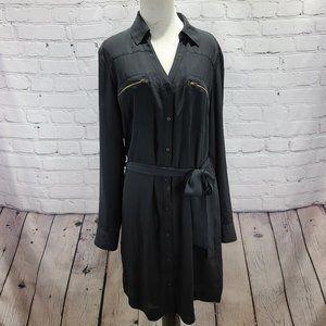 Express The Portofino Shirt Dress Black Button up